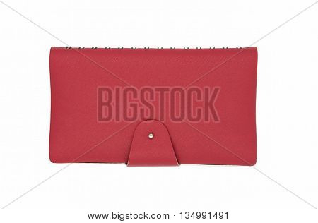 Red leather business diary isolated on white background.