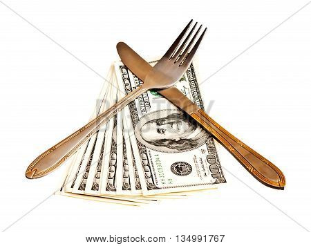 Money with fork and knife isolated on white background