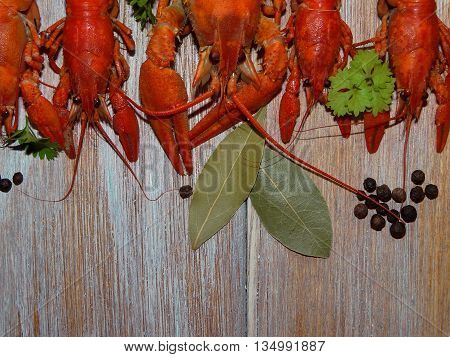 some boiled crayfish with green parsley lying on the wooden boards