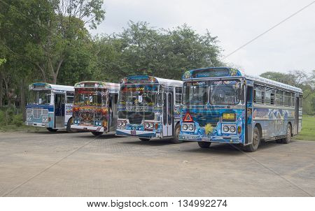 ANURADHAPURA SRI LANKA - MARCH 13, 2015: Tourist buses Lanka Ashok Leyland. Intercity buses are at the station waiting for passengers, Sri Lanka