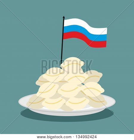 Dumplings Russian National Patriotic Food. Russian Flag In Plate With Food. Traditional Folk Delicac