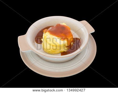 Mashed potatoes with cheese isolated on the black background with clipping path