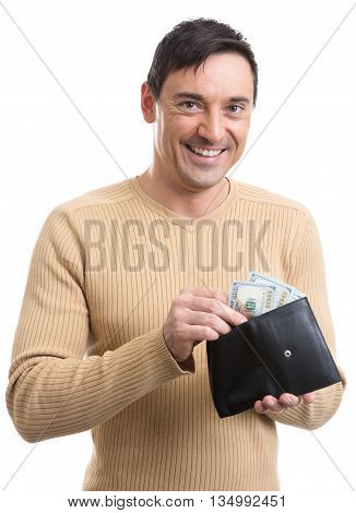 Smiling Man Holding A Wallet With Money.