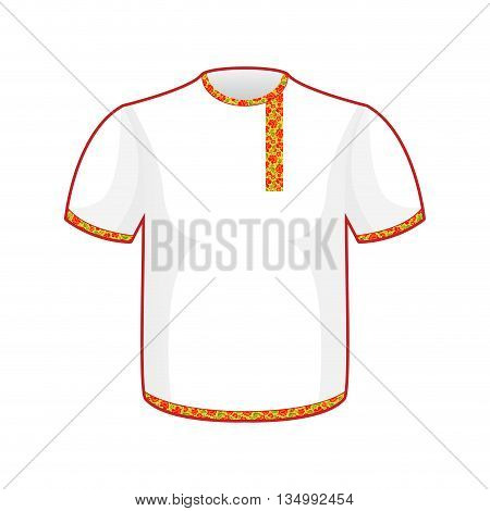 Russian Folk Mens T-shirt. Traditional Ancient National Clothes Russian People.