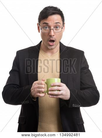 Surprised Office Worker Holding A Cup
