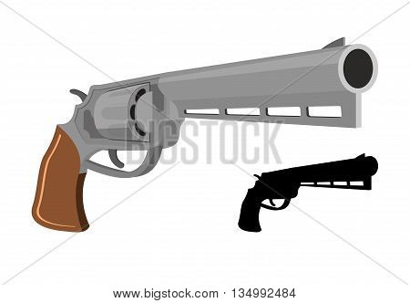 Colt firearms. Revolver gun. Large magnum. Vector illustration