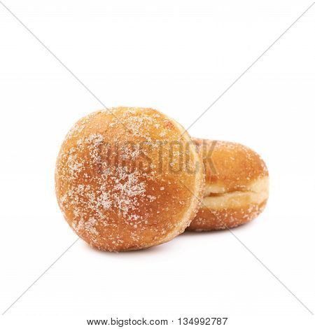 Composition of two jam filled doughnuts isolated over the white background