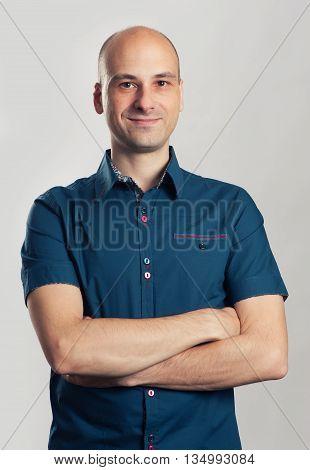 Handsome Bald Man Smiling
