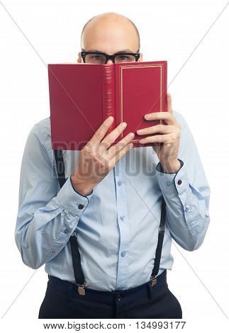 Bald Man Reading A Book