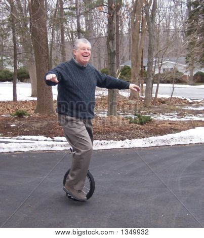 Senior Citizen On Unicycle!