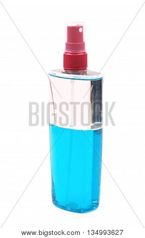 Plastic flacon bottle dispenser filled with the blue liquid isolated over the white background