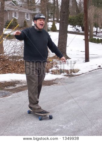 Senior Citizen On Skateboard