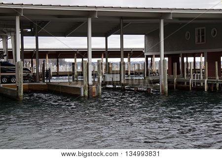 Boat slips in the Walstrom Marine Boathouse in Harbor Springs, Michigan.