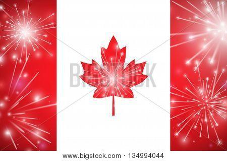 Happy Canada Day Card. Canada Flag, Fireworks, Red Maple Leaf. Vector Illustration