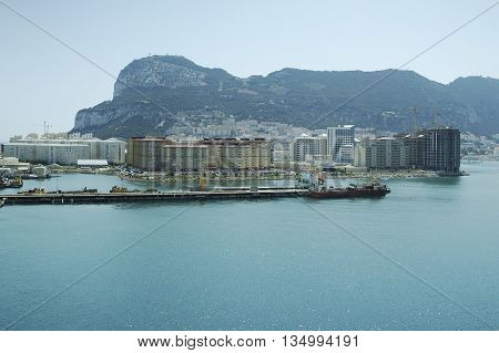 Rock of Gibraltar on a sunny day seen from sea