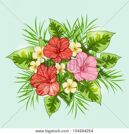 Bouquet of tropical flowers on a green background. Hand drawn vector illustration.