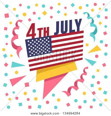 4th of July holiday banner. Creative paper banner with american flag, 4th July title and confetti. Flat design graphics for banners, websites, infographics, printed materials. Vector illustration