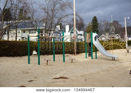 Playground equipment is available for children at the Zorn Park Beach in Harbor Springs, Michigan.