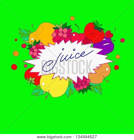 illustration with the image lettering juice in the frame from fruits, berries and leaves on a bright green background