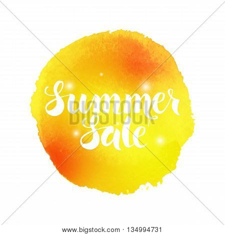 Summer Sale Vector Watercolor Concept. Vector Illustration of Watercolour Abstract Background. Handwritten Text. Creative Design.