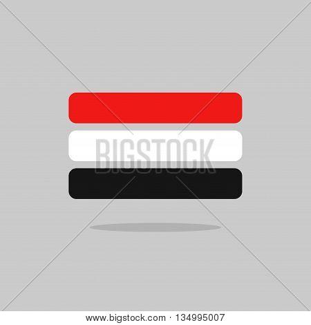 Yemen Flag State Symbol Stylized Geometric Elements
