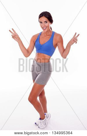 Celebrating Brunette Woman Posing On White