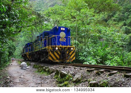 AGUAS CALIENTES PERU - MARCH 14 2015: Train connecting Cusco and Machu Picchu in Peru