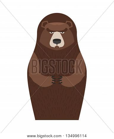 Russian Matryoshka Bear. People Souvenir. Traditional National Toy Doll.