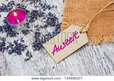 Auszeit - Time out wellness - with lavender and candle