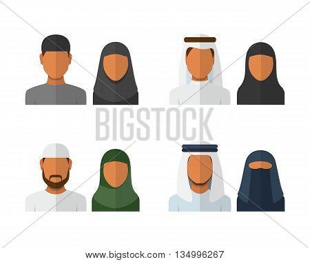 Arabic man and woman set, vector avatars