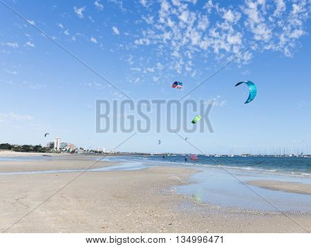 Melbourne - March 3 2016: kitesurfing in the Bay of Port Phillip in Victoria harbor with yachts and March 3 2016 Melbourne Australia