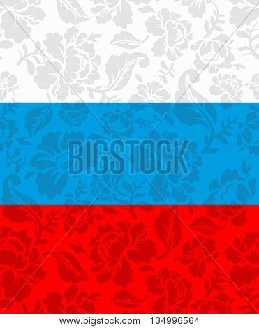Russian Flag Painted Khokhloma. National State Sign. Russian Patriotic Ornament