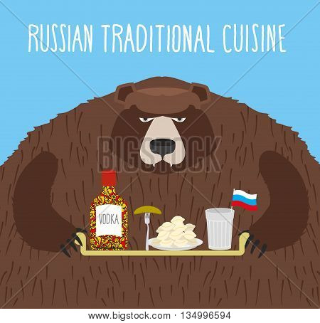 National Folk Food In Russia. Russian National Cuisine. Bear With Tray Of Traditional Meal: Vodka, D