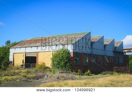 Very old abandoned warehouse in steel industry