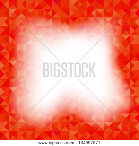 Background with Geometric Shapes, Triangles. Old Mosaic. Red-Mosaic-Banner. Geometric Hipster Red Pattern with Place for Your Text. Graphic Template Background