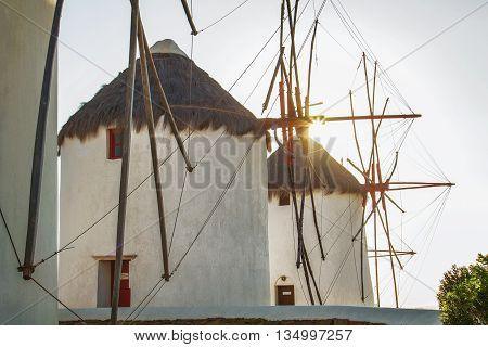 Windmills in Mykonos Greece Backlit by Sun