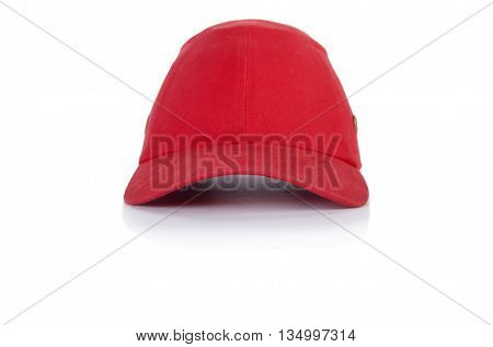 Red baseball cap isolated on the white background