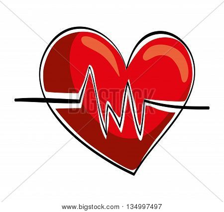 Healthy lifestyle concept represented by heart and cardiology icon over flat and isolated background