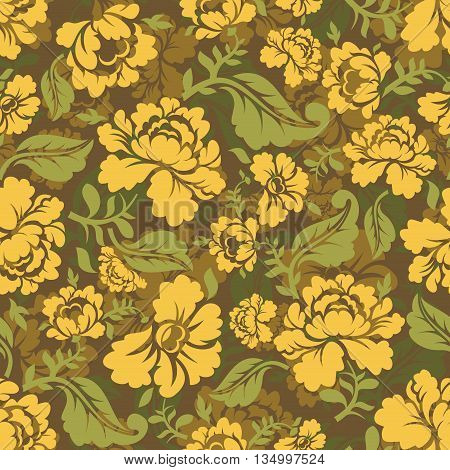 Military Texture Khokhloma. Protective Army Ornament. Russian National Soldier Background. Camouflag