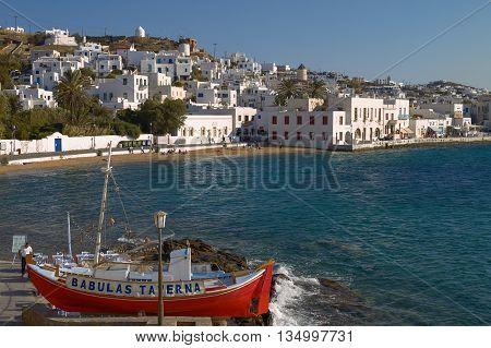 MYKONOS, GREECE - SEPTEMBER 13, 2010: People Enjoying a Vacation at Mediterranean Island of Mykonos Greece