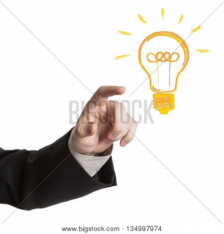 human hand and idea icon on a white background