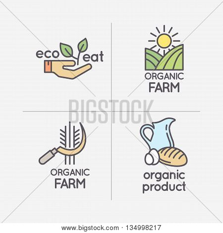 The flat linear set of logos natural products. Emblem farming and eco settlement, subsistence farming.