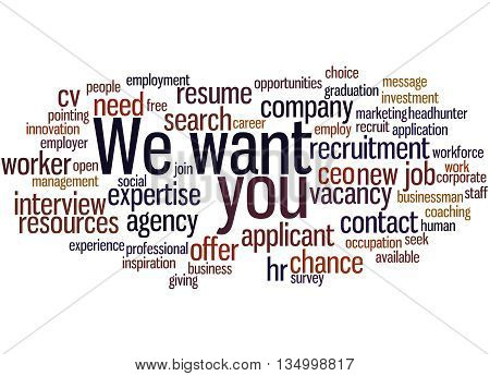 We Want You, Word Cloud Concept 6