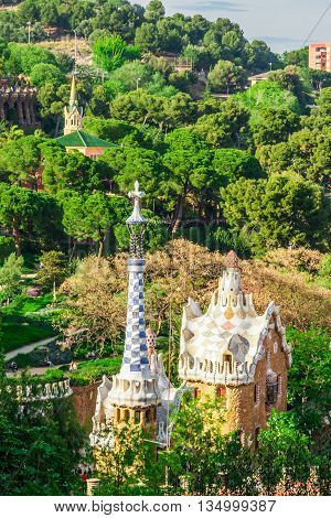 Barcelona Spain - May 1 2015: Barcelona Attractions Park Guell by architect Antoni Gaudi in Barcelona Catalonia Spain.
