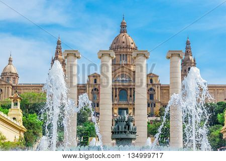 Barcelona Spain - May 2 2015: Barcelona Attractions National Museum in Barcelona Placa De Espanya Catalonia Spain.