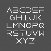 Thin line bold style uppercase modern font, typeface, minimalist style. Latin alphabet letters. Vect poster
