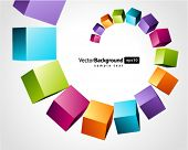picture of parallelepiped  - fly colorful 3d cubes vector background - JPG