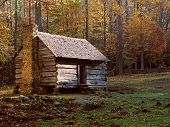 stock photo of log cabin  - Old Log Cabin in Tennessee - JPG