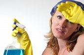 stock photo of house cleaning  - cleaning woman - JPG