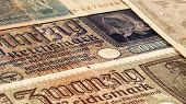 Third reich nazi banknotes 1942 WW2 in occupied Ukraine, vintage background poster